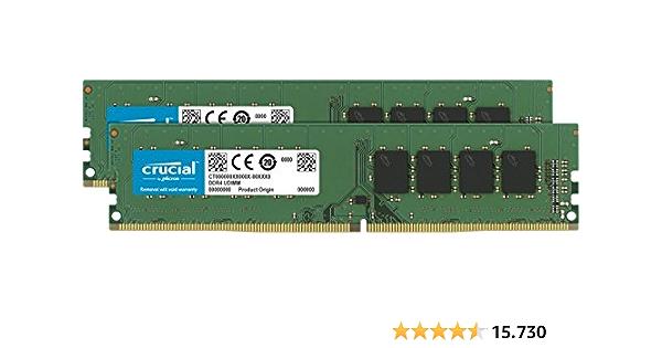Crucial CT2K16G4DFD8266 - Kit de Memoria RAM de 32 GB (16 GB x 2) (DDR4, 2666 MT/s, PC4-21300, Dual Rank x 8, DIMM, 288-Pin)
