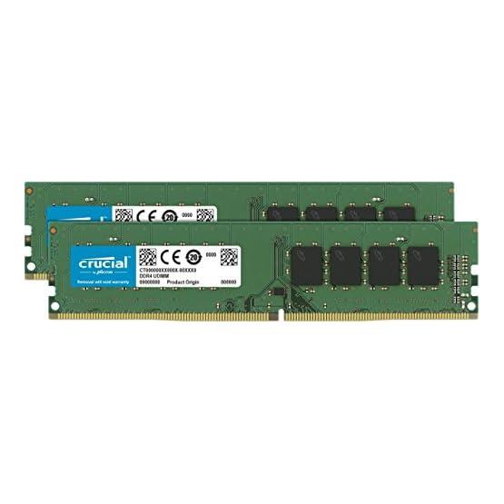 Crucial 32GB Kit (16GBx2) DDR4 2666 MT/s (PC4-21300) DR x8 DIMM 288-Pin Memory - CT2K16G4DFD8266 41W9I2XWw6L. SS555