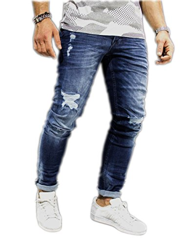 [Men's Ripped Destroyed Jeans Slim Fit Distressed Denim Pants Trousers Blue003 34] (Front Skinny Jeans)