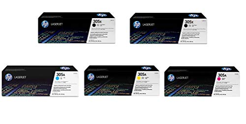 Replacement Hewlett Packard (HP) Color LaserJet Pro Color 300 or 400 Series printer Set of 5 Toner Cartridges 2 x CE410X, 1 x CE411A, 1 x CE412A, 1 x CE413A