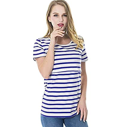 8a196ce129a Women Striped Pregnant Nursing Baby for Maternity Multifunctionl Blouse T-Shirt  Pregnancy Clothes Woman Cloth Maternity Clothes   Blue