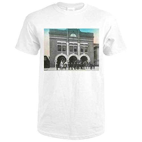 Waterloo, Iowa - Exterior View Of Central Fire Station (Premium White T-Shirt - Waterloo Premium