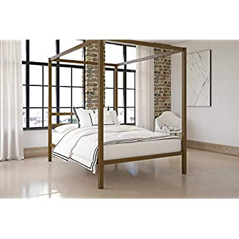 Amazon.com: DHP Modern Canopy Bed with Built-in Headboard, Classic ...
