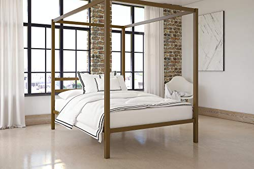 - DHP Modern Canopy Bed with Built-in Headboard, Classic Design, Full Size, Gold