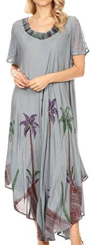 Muumuu Caftan - Sakkas 116 Watercolor Palm Tree Tank Caftan Dress - Grey/One Size