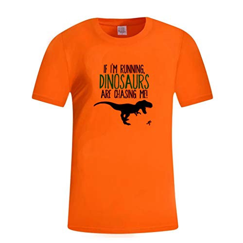 Men's Casual Graphic Letter Print Short Sleeve Crewneck T-Shirt Basic Summer Tee Tops (XL, Orange)