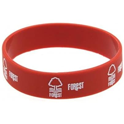 Nottingham Forest F C Silicone Wristband- silicone rubber wristband- one size fits all- approx 7cm diameter- header card- official licensed product Estimated Price -