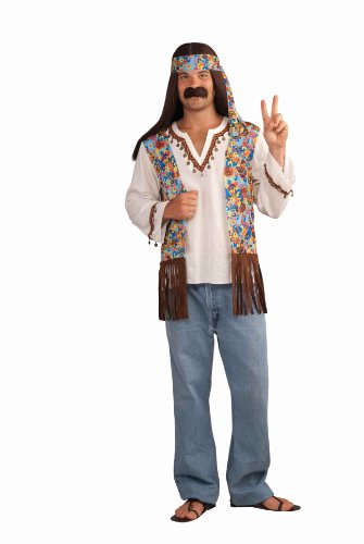 Groovy Hippie Costumes (Forum Novelties Men's Groovy Hippie Costume Shirt and Headband, Multi Colored, One Size)