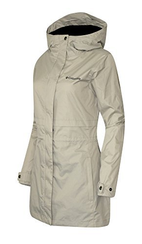 COLUMBIA WOMENS Shine Struck II Waterproof RAIN Mid Hooded JACKET 2017 (S, Beige)