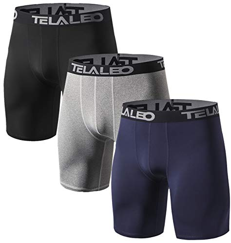TELALEO Men's Long Compression Shorts Cool Dry Performance Sports Underwear Tights 8