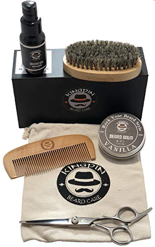 Salon Quality Vanilla Scented Beard Kit. Gift Set includes beard oil with convenient pump, beard balm, brush, comb, and travel bag