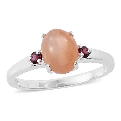 Peach Moonstone Rhodolite Garnet Sterling Silver Ring Size (Peach Moonstone)