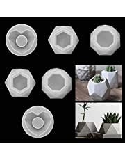WOPODI 6 Pieces Silicone Flower Pot Mold Hearth Diamond Shaped Molds for Candle Holder Making DIY Craft Molds for Small Cactus Succulent Plants Pot Mold Concrete Cement Plaster Pen Holder Molds