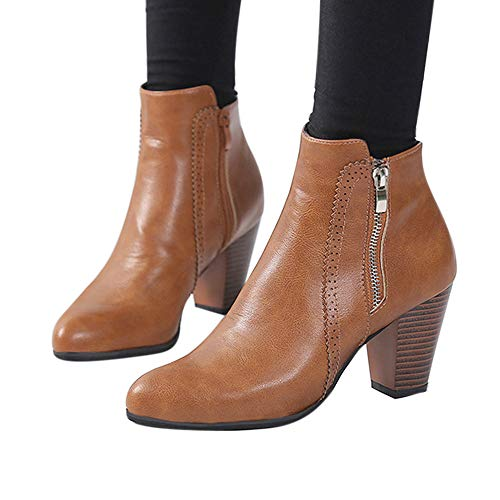 Women Ankle Booties Cinsanong Chunky High Heels Zipper Shoes Thick Heel Vintage Short Boot