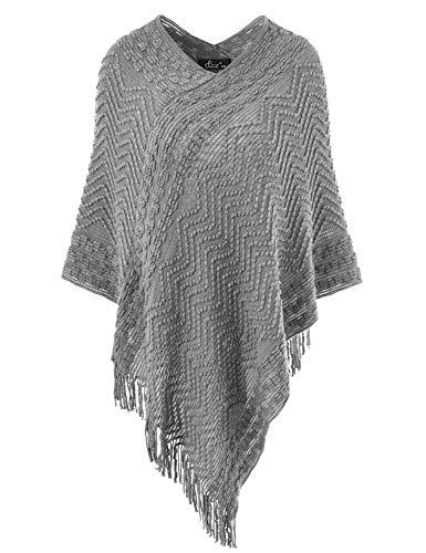 (Ferand Women's Elegant Cozy Poncho Sweater with Chevron Stripes and Fringes, One Size, Grey)