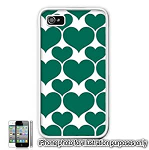 Green Hearts Love Monogram Pattern Apple iPhone 4 4S Case Cover Skin White