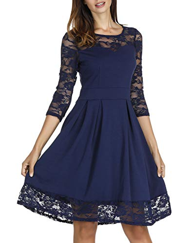 Akivide Women's 3/4 Sleeve Lace Floral Elegant Cocktail Dress Knee Length for Party (XL, Navy 2)