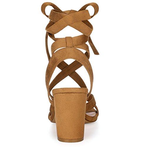 Brown Heel Chunky Women Lace Crisscross Ups Allegra K IpwU0x8