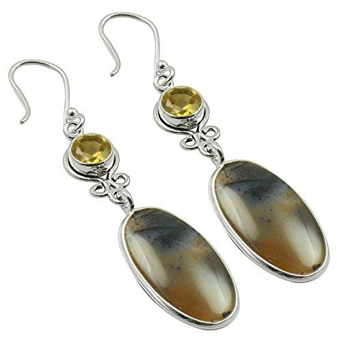 Natural Cabochon Pear Shape White Topaz Sterling Silver Earrings Earrings
