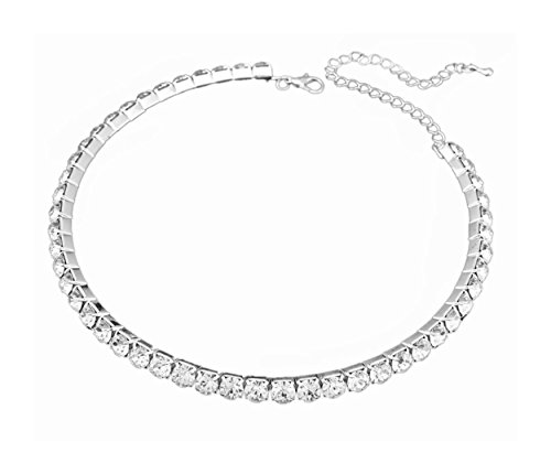 1 Row Clear Austrian Crystal Necklace Choker to Bridal Prom | Collar Rhinestone Choker Necklace for Women Silver Austrian Crystal Rhinestone Choker Necklace