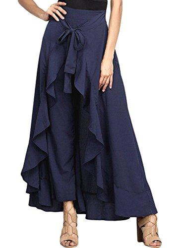 Hanlolo WomenRuffle Pants Split High Waist Maxi Long Chiffon Palazzo Overlay Pant Skirt