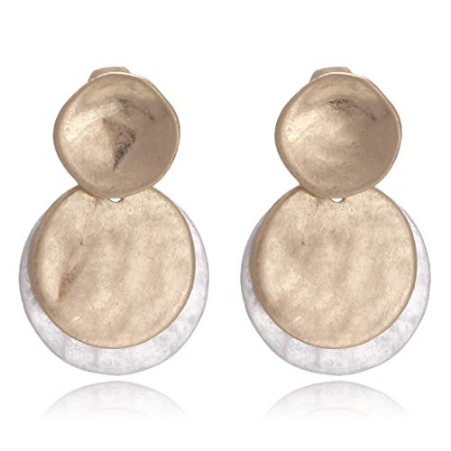 - Vintage Double Layered Two Tone Dangle Drop Basic Earrings for Women