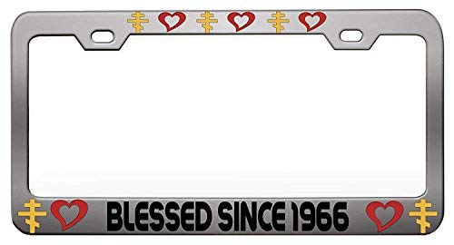 Blessed Since 1966 Chrome License Plate Tag Holder Metal Frame Car Tag Frame Auto License Plate Tag Holder Metal Holder 12in x 6in
