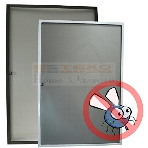 Fliegengitter Fenster - Größe und Farbe wählbar - Insektenschutz Alurahmen Fliegenschutz Mückenschutz weiß braun (80 x 120 cm, Braun)