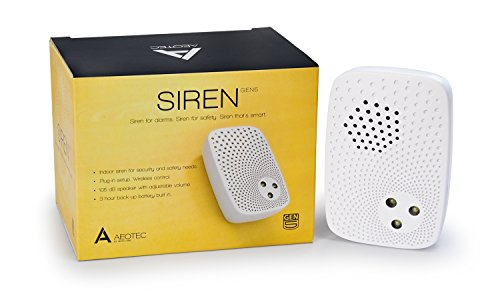 Aeotec Siren Gen5, Z-Wave Plus, 105dB Siren with Strobe alerts, Plug-in, Backup Battery