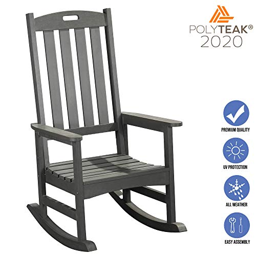 PolyTEAK Classic Outdoor Rocking Chair, Gray | Adult-Size, Weather Resistant, Porch and Patio Rocker | Made from Special Formulated Poly Lumber Plastic | Created and Designed in California