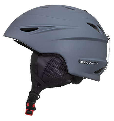 Lucky Bums Alpine Men Women Audio Chip Ready Ski Helmet, Charcoal, S