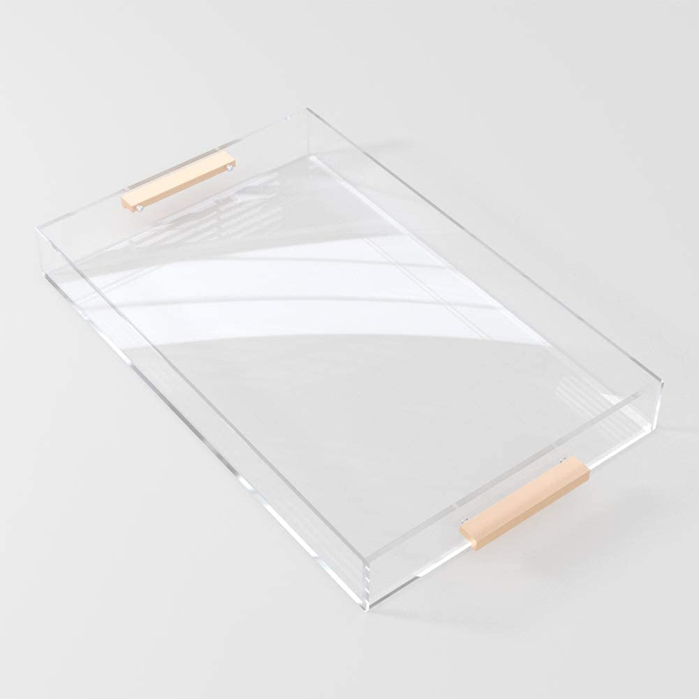 Clear Acrylic Serving Tray 11x17 with Gold Metal Handles, Spill Proof- Acrylic Decorative Tray Organizer for Ottoman Coffee Table Countertop
