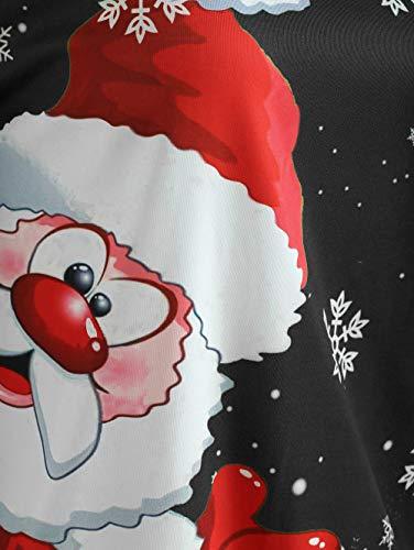 ❤ Christmas Barra Cappuccio Donne Nero Innerose Camicetta Merry Felpa Natale Con Babbo Obliquo Maglione Autumnwinter Stampa Neck Collo Moda Felpe Donna Top Capispalla fYUwYd