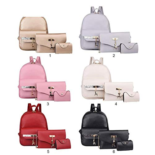Pendant Leather Handbag 3Pcs Women Glitter Shoulder Chain PU Pink Set RwYYrqx8t