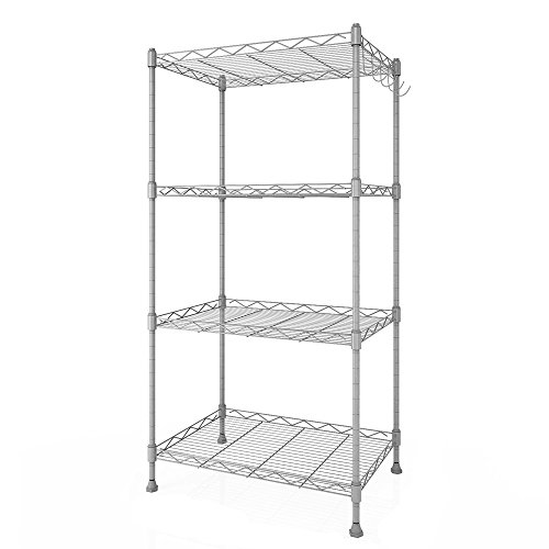 Adjustable Wire Bin Rack (Leoneva Heavy Duty 4-Tier Commercial Grade Free-Standing Adjustable Home Kitchen Storage Wire Shelving Organizer Rack with 5 Side Hook (Silver))