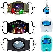 2 PCS Among Us Plush Stuff Animal Plushies Toys Merch Plushie + 3 PCS Among Us Kids Reusable Face Mask + 1PCS