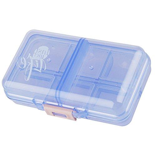 Portable Travel Pill Case Supplements Pills Tablet Vitamin Organizer Box Dispenser, Pocket Container, Medicine Storage 8 Compartments, Translucent Blue