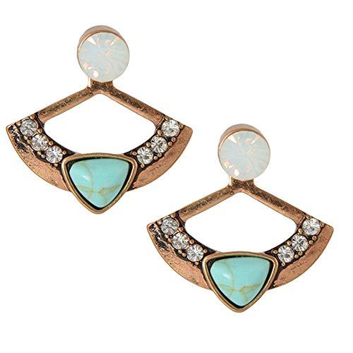 (qsbai Stud Earrings Eardrop Front Back Ear Jacket Women Rhinestone Fan Shape Ear Jewelery)
