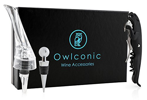 Deluxe Wine Opener Kit | Stylish Aerator Pourer, Stopper & Wine Key with Foil Cutter Set | Classy, Black & Stainless Steel Wine Accessory Gift Trio | Sleek Wine Corkscrew Bottle Opener Sets (Trio Wine)