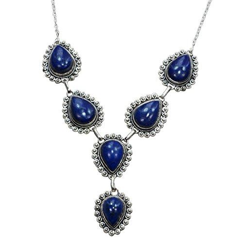 Big Lapis lazuli Necklace 925 Sterling Silver - Y Necklace 18.5
