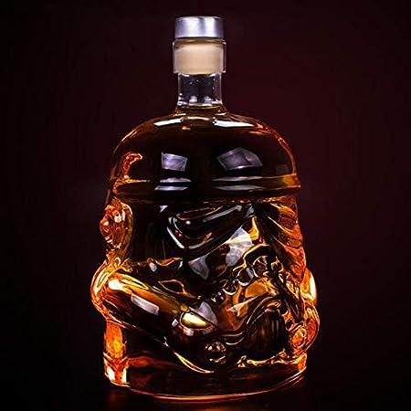 MIAOF Decantador de Botella de Whisky, Jarra de Vodka de Botella de Vidrio Estilo Star Wars, Jarra de Vidrio de borosilicato de Whisky, Regalo Personalizado para Hombres A