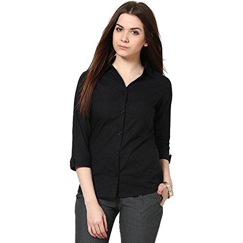 c833c057a705d Fashion205 Black Rayon Plain Shirt for Women  Amazon.in  Clothing ...
