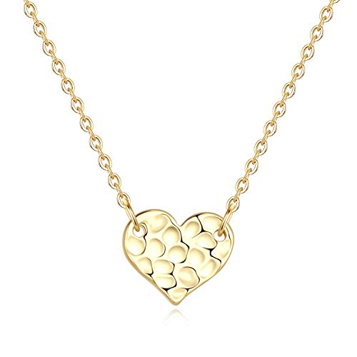 Turandoss Heart Necklace for Women Gifts - 14K Gold Filled Disc Hammered Heart Pendant Necklace for Women Girls, Dainty Hear Necklace Best Engagement Gifts
