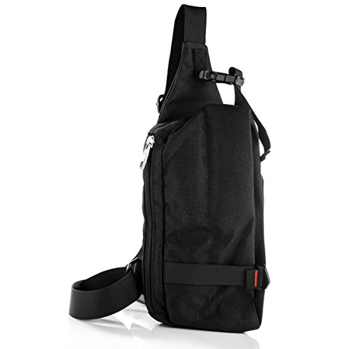 LC Prime Sling Bag Chest Pack Unbalance Backpack Casual Crossbody Shoulder Bag Rucksack Water Resistant for Travel Outdoor Cycling oxford nylon black, by by LC Prime