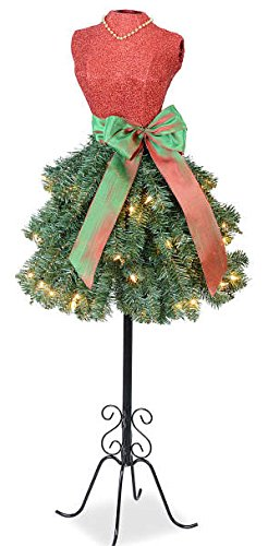 (Prime Holiday Celebrations Merry Christmas Dress Form Tree with 70 Clear Lights and Sparkling Bodice, 4 Feet Tall with Stand)