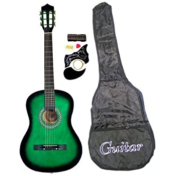 38 inch student beginners green acoustic guitar with carrying case accessories. Black Bedroom Furniture Sets. Home Design Ideas