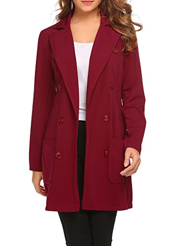SE MIU Women's Vintage Double Breasted Long Sleeve Lapel Button Slim Trench Coat Jacket Wine Red -