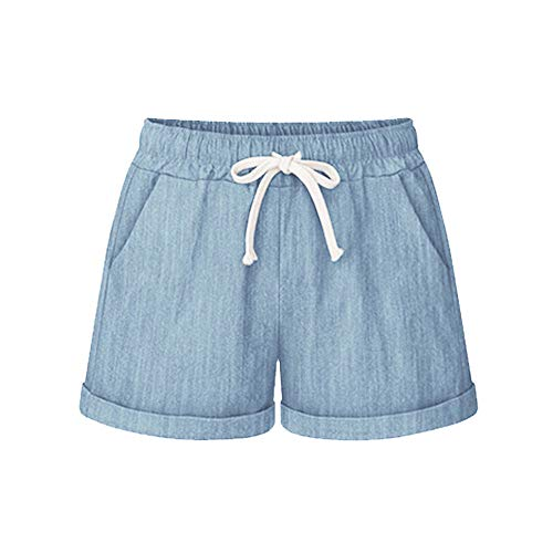 QueenMMWomen's Comfy Casual Solid Drawstring Pocket Shorts Loose Fit Elastic Waist Shorts Sports Pants Blue