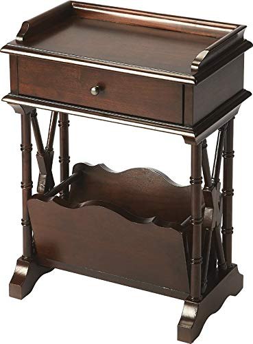 Wood End Table with Drawer - Hand-Carved End Table with Lower Magazine Rack - Cherry