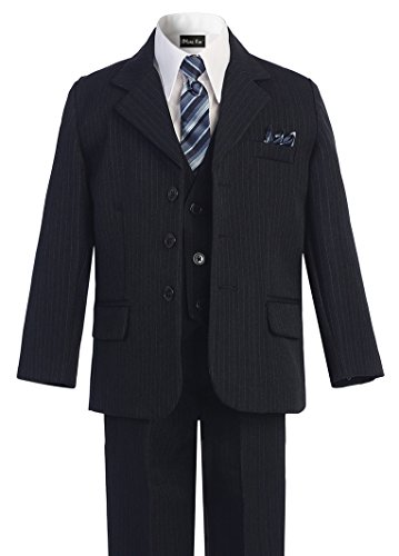 Lined Satin Suit - OLIVIA KOO Boys Pinstripe 6-Piece Suit With Matching Neck Tie and Pocket Square
